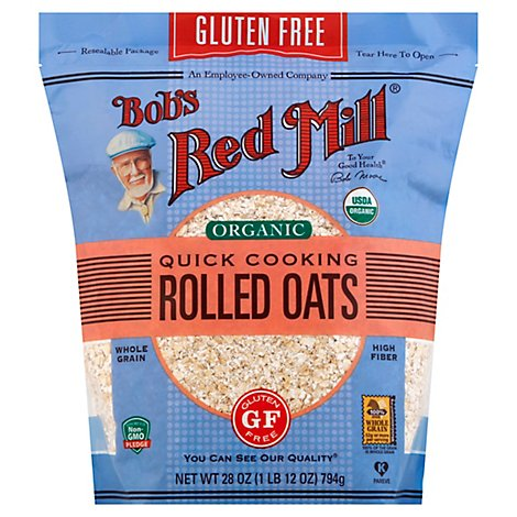 Bobs Red Mill Rolled Oats Gluten Free Organic Quick Cooking - 28 Oz