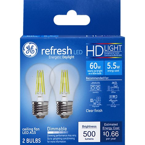 GE Light Bulbs LED HD Light Daylight Refresh Clear Finish 60 Watts A15 Box - 2 Count