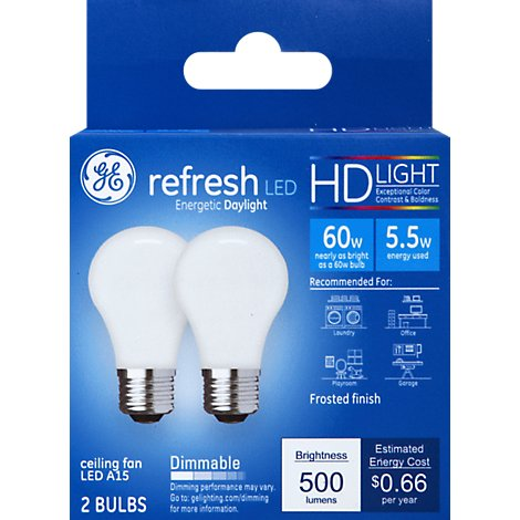 GE Light Bulbs LED HD Light Daylight Refresh Frosted Finish 60 Watts A15 Box - 2 Count