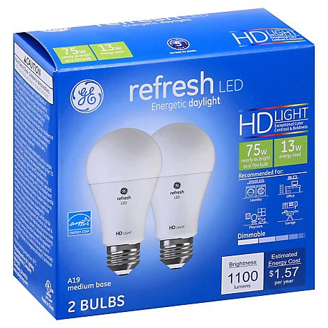 GE Light Bulbs LED HD Light Daylight Refresh 75 Watts A21 Box - 2 Count