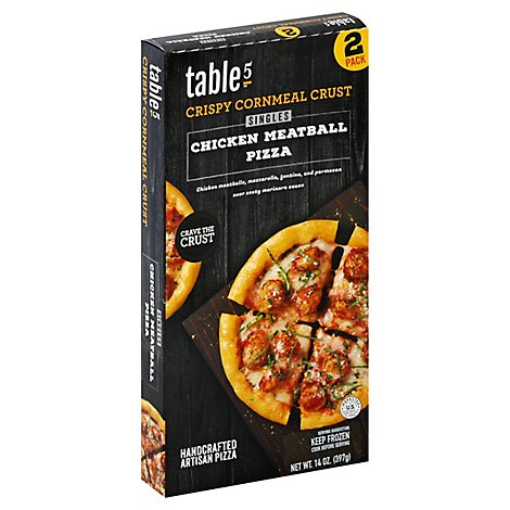 table5 Pizza Crispy Cornmeal Crust Singles Chicken Meatball Box 2 Count Frozen - 14 Oz