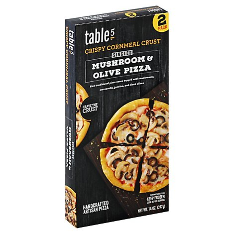 table5 Pizza Crispy Cornmeal Crust Singles Mushroom Olive Box 2 Count Frozen - 14 Oz