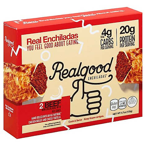 Realgood Food Enchiladas Mini Beef Box 2 Count - 4.7 Oz