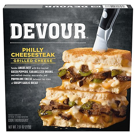 Devour Frozen Meals Phylly Cheese Steak Grilled Cheese Box - 7.5 Oz