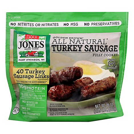 Jones Dairy Farm Sausage All Natural Golden Brown Turkey Links 40 Count - 20 Oz