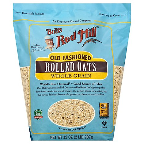 Bobs Red Mill Rolled Oats Old Fashioned Whole Grain - 32 Oz