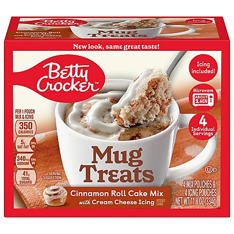 Betty Crocker Cake Mix Mug Treats Cinnamon Roll Box 4 Count - 11.8 Oz