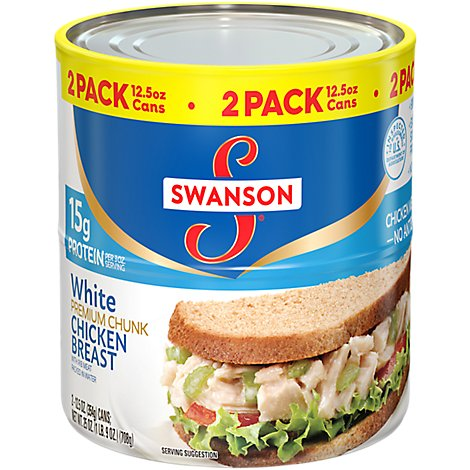 Swanson Chicken Breast White Premium Chunk with Rib Meat in Water - 2-12.5 Oz