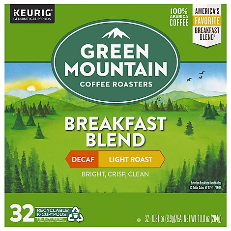 Green Mountain Coffee Arabica K-Cup Pods Light Roast Decaf Box - 32 Count