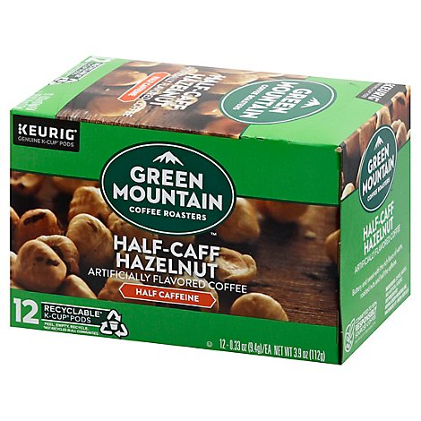 Green Mountain Coffee Roasters K Cup Pods Half Caff Hazelnut 12 Count - 3.9 Oz