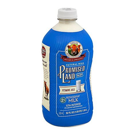 Promised Land Milk 2% Reduced Fat Bottle - 52 Fl. Oz.