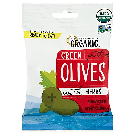 Mediterranean Organic Olives Green Pitted With Herbs Pouch - 2.5 Oz