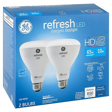 GE Light Bulb LED HD Daylight Refresh 65 Watts BR30 Box - 2 Count