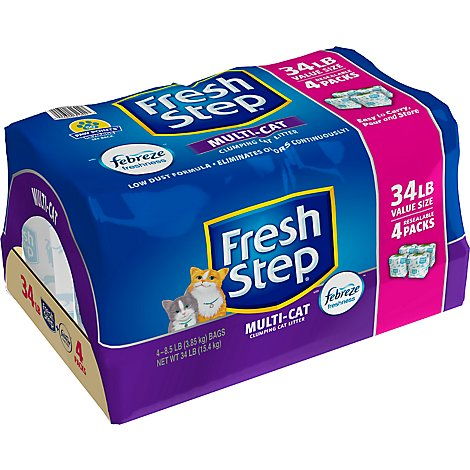 Fresh Step Multi-Cat With Febreze Freshness Clumping Cat Litter Scented - 34 Lb