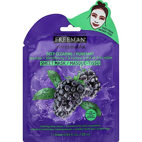 Feeling Beautiful Deep Clearing Tea Tree Blackberry Sheet Mask - .84 Fl. Oz.