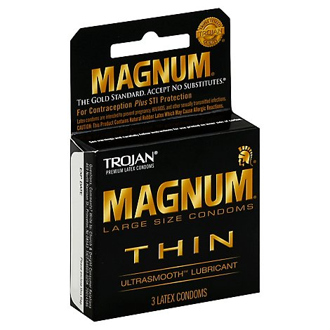 Trojan Magnum Condoms Premium Latex Thin Ultrasmooth Lubricant Large Size Box - 3 Count