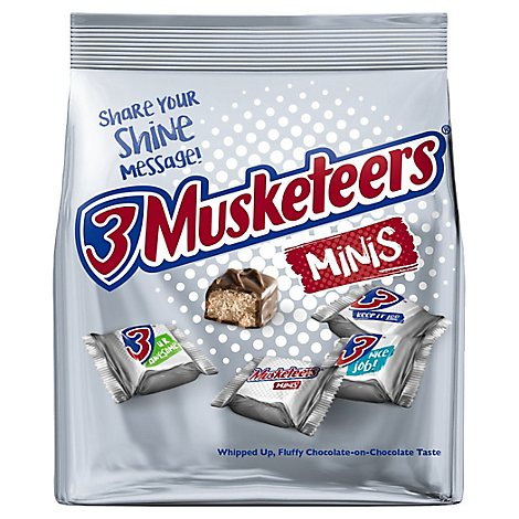 3 Musketeers Minis Size Chocolate Candy Bars Bag 8.4 Oz