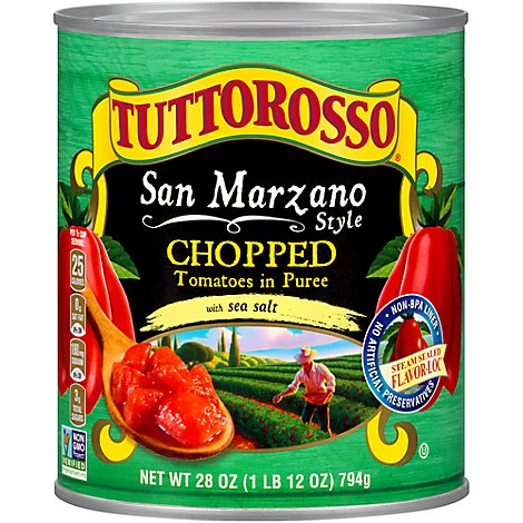 TUTTOROSSO Tomatoes In Puree Chopped San Marzano Style With Sea Salt Can - 28 Oz