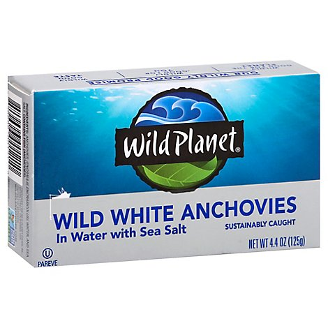 Wild Planet Anchovies White Wild Caught In Water With Sea Salt Box - 4.4 Oz