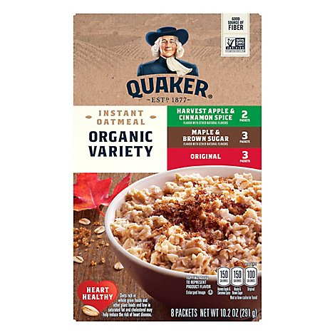 Quaker Instant Oatmeal Organic Non Gmo Variety 8 Pack - 10.2 Oz