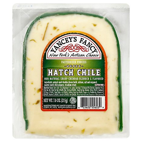 Yanceys Fancy Cheese Gluten Free Sharp Cheddar Zesty Hatch Chile Vacuum Packed - 7.6 Oz