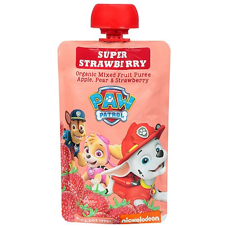 Paw Patrol Mixed Fruit Puree Organic Super Strawberry Pouch - 3.5 Oz