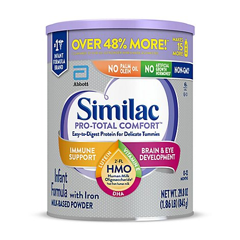 Similac Pro-Total Comfort Non GMO with 2 FL HMO Infant Formula With Iron Powder - 29.8 Oz