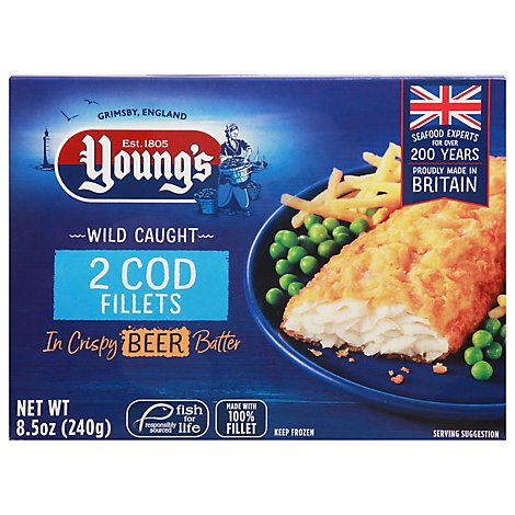 Youngs Beer Battered Cod Fillets - 8.46 Oz