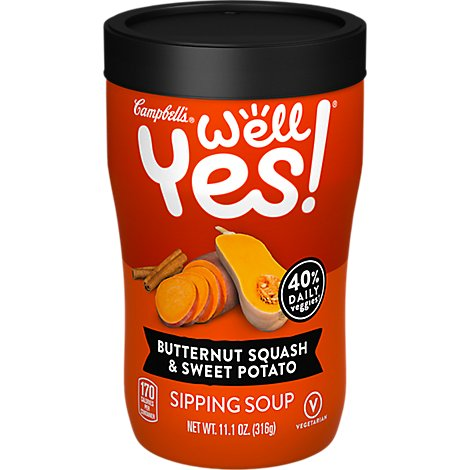 Campbells Well Yes! Soup Sipping Butternut Squash & Sweet Potato Jar - 11.1 Oz