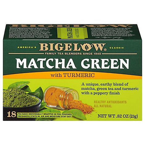 Bigelow Tea Bags Green Matcha With Turmeric 18 Count - 0.82 Oz