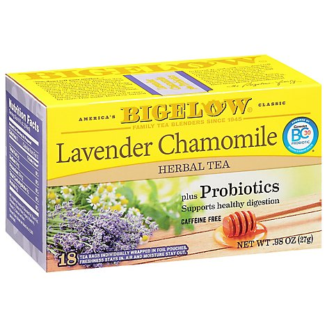 Bigelow Tea Bags Herbal Bags Lavender Chamomile Plus Probiotic 18 Count - 0.98 Oz