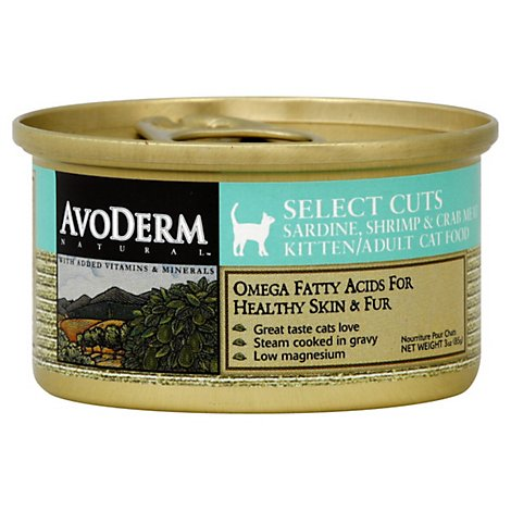 AvoDerm Natural Cat Food Kitten Adult Select Cuts Sardine Shrimp & Crab Meat Can - 3 Oz