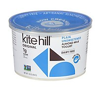 Kite Hill Yogurt Artisan Almond Milk Plain Unsweetened Tub - 16 Oz