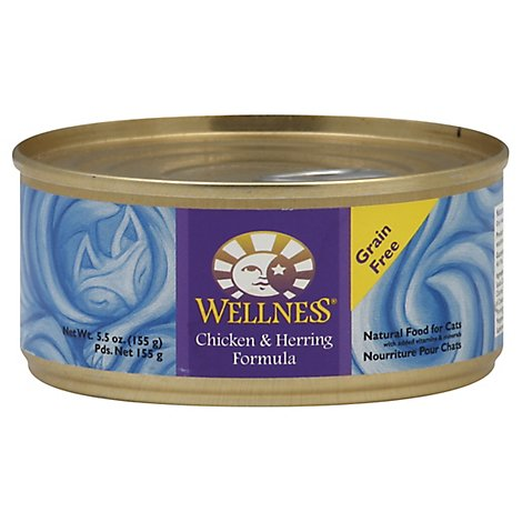 Wellness Cat Food Natural Grain Free Chicken & Herring Formula Can - 5.5 Oz