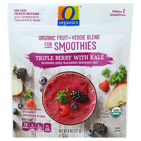 O Organics Organic Fruit + Veggie Blend Triple Berry With Kale - 8 Oz