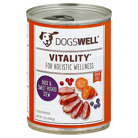 Dogswell Vitality Dog Food Grain Free Duck & Sweet Potato Stew Can - 13 Oz