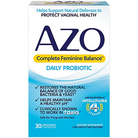 AZO Complete Feminine Balance Dietary Supplement Daily Probiotic Capsules - 30 Count