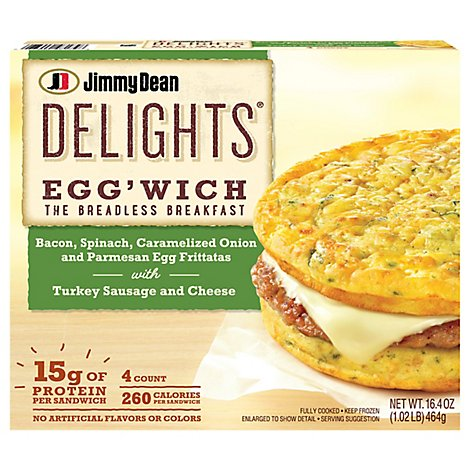 Jimmy Dean Delights Bacon Spinach Onion Eggwich 4 Count