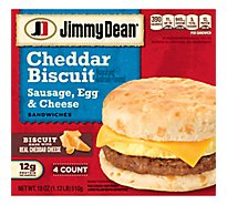 Jimmy Dean Sausage Egg & Cheese Cheddar Biscuit Sandwiches 4 Count