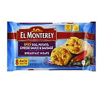 El Monterey Breakfast Wraps Spicy Egg Potato Cheese Sauce & Sausage 8 Count - 28.8 Oz