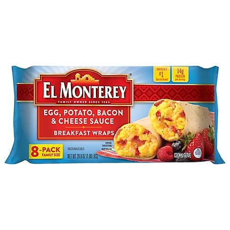 El Monterey Breakfast Wraps Egg Potato Bacon & Cheese Sauce 8 Count - 28.8 Oz