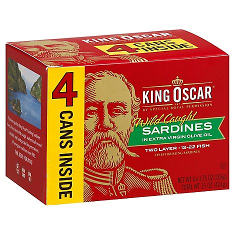 King Oscar Sardines In Extra Virgin Olive Oil Double Layer Box - 4-3.75 Oz