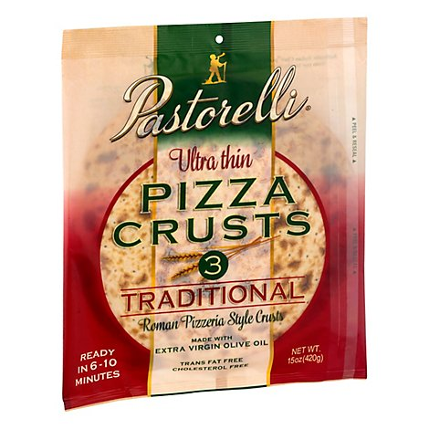 Pastorelli Ultra Thin White Pizza Crust - 3 Count
