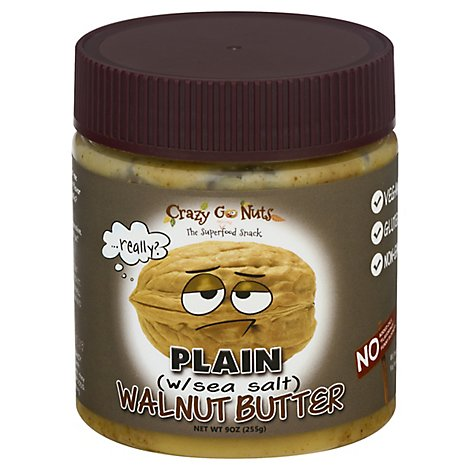 Crazy Go Nuts All Natural Boring Plain Walnut Butter - 9 Oz