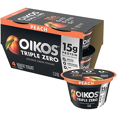 Oikos Triple Zero Greek Yogurt Blended Nonfat Peach Pack - 4-5.3 Oz