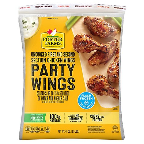 Foster Farms Chicken Wings Party Wings Individually Fast Frozen - 40 Oz