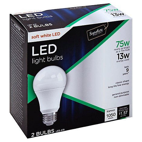 Signature SELECT Light Bulb LED Soft White 13W A19 - 2 Count