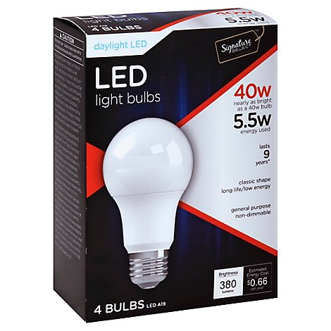 Signature SELECT Light Bulb LED Daylight 5.5W A19 380 Lumens - 4 Count