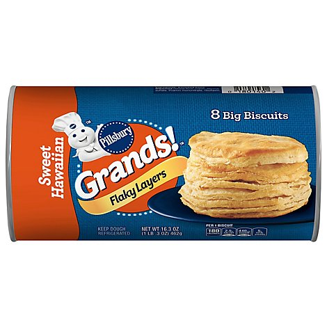 Pillsbury Grands! Biscuits Flaky Layers Sweet Hawaiian Tube 8 Count - 16.3 Oz