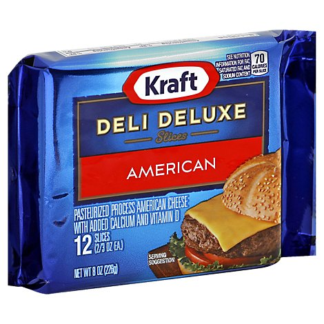 Kraft Deli Deluxe Cheese Slices American 12 Count Wrapper - 8 Oz